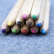Wooden, colored pencils — Zdjęcie stockowe