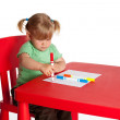 Painting little girl - Stock Photo
