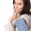Elegant women keeping blue present bag — Stock Photo