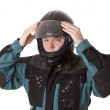 Motorcycle man in helmet — Stockfoto
