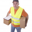 Delivery men in reflective waistcoat — Stock Photo