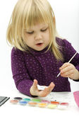 Painting little girl — Stock Photo