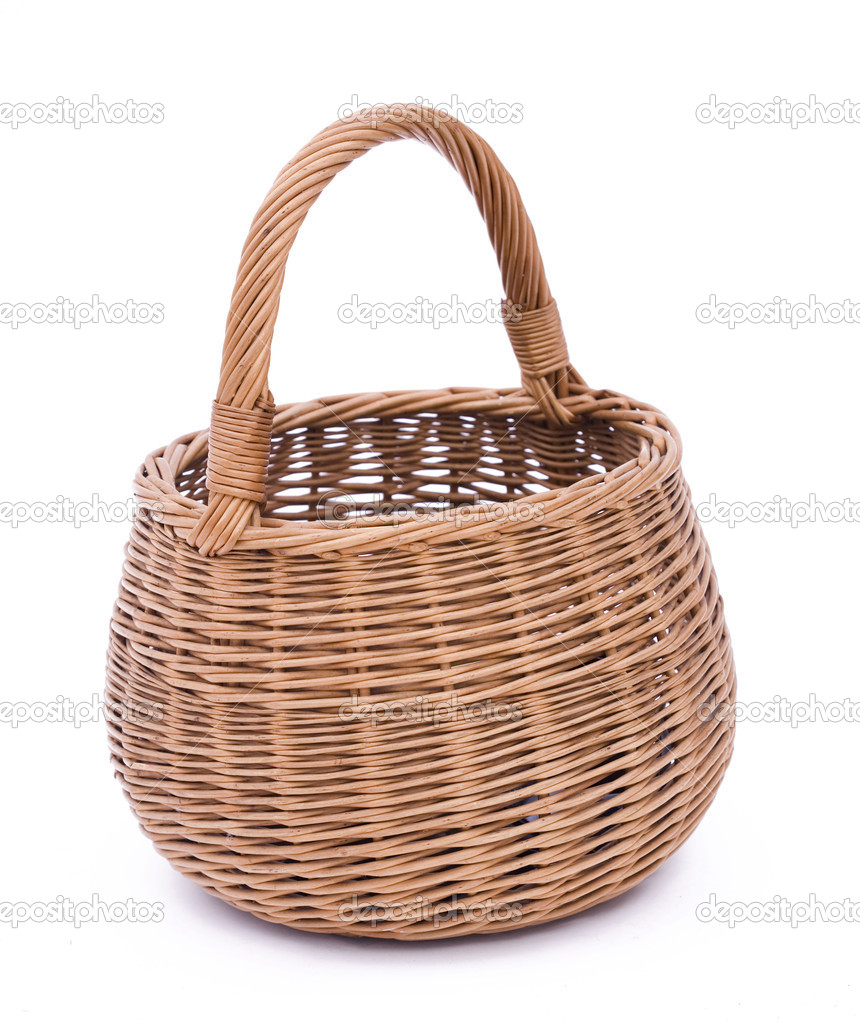Empty brown wicker basket isolated on the white background — Stock Photo #1811261