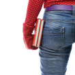 Stock Photo: Womin red mitten keeping books