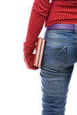Woman in red mitten keeping books — Stock Photo