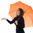Stock Photo: Smiling young woman with umbrella