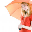 Young woman with orange umbrella — Stock Photo #1919354