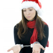 Surprised handcuffed woman — Stock Photo
