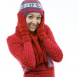 Smiling young woman in winter cap — Stock Photo