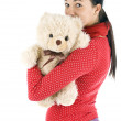 Oung woman with teddybear — Stock Photo