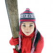 Royalty-Free Stock Photo: Young woman with old wooden alpine skis