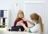 Sad little girl at lady doctor — Stock Photo