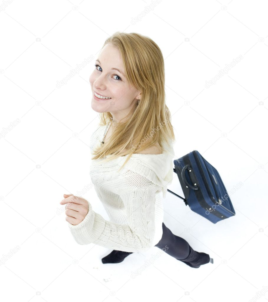 Smiling blond hair young woman with suitcase  Stock Photo #2166649