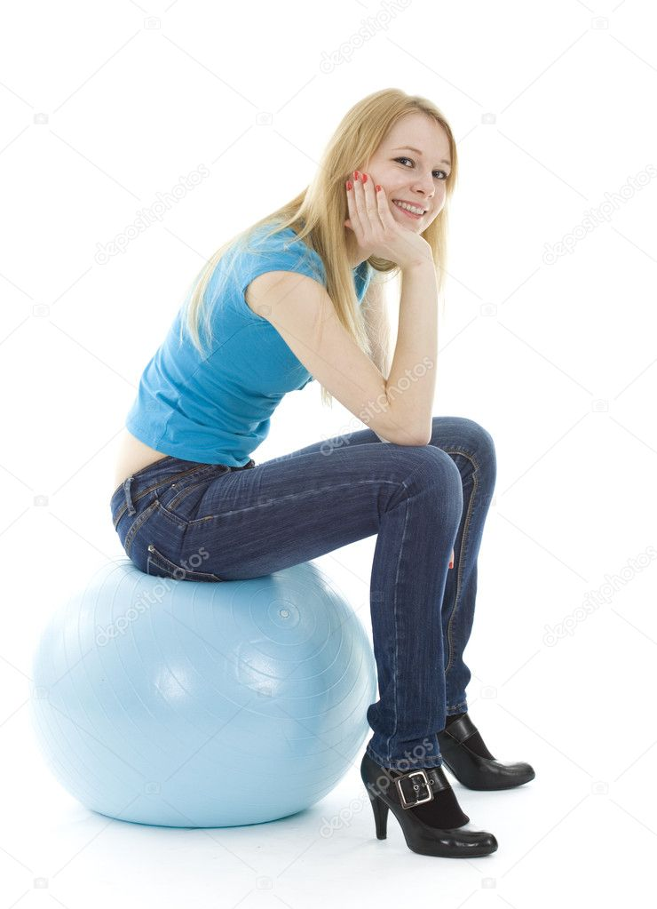 Smiling girl on blue ball isolated on white background — Stock Photo #2252106