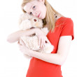 Young woman hugging teddybear — Stock Photo