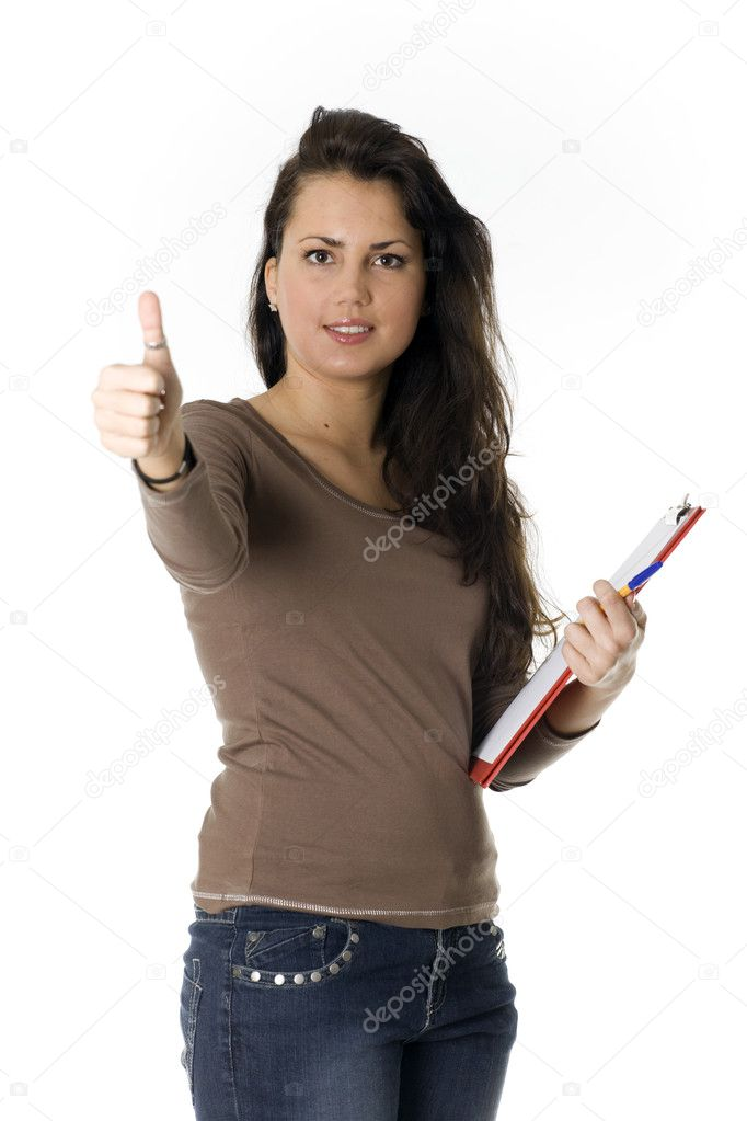 Dark hair young woman with clipboard, thumb up  Stock Photo #2374304