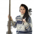 Young woman with old wooden alpine skis — Stock Photo