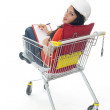Young engineer woman in shopping cart — Stock Photo