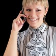 The woman speaks on the phone — Stock Photo