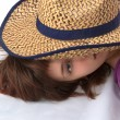 Girl iunder a hat — Stock Photo #1949897