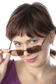 Young girl tries sun glasses — Foto de Stock