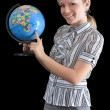 Teacher with the globe — Stock Photo