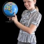 Teacher with the globe — Stock Photo