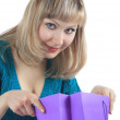 Beautiful girl holds packages — Stock Photo