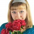 Beautiful woman holds bouquet roses — Stock Photo #2473605