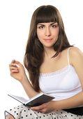 Garota legal com um diário — Foto Stock