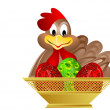 Easter eggs and chicken — Stock Photo #1618793