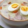 Delicious sour soup with egg. — Stock Photo