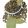 Allspice and bay leaves. - Stock Photo