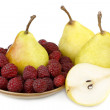 Pear and raspberries — Stock Photo
