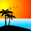 Palms, sun, ocean — Stock Photo