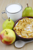 Apple,pear ,milk and cornflakes — Stock Photo