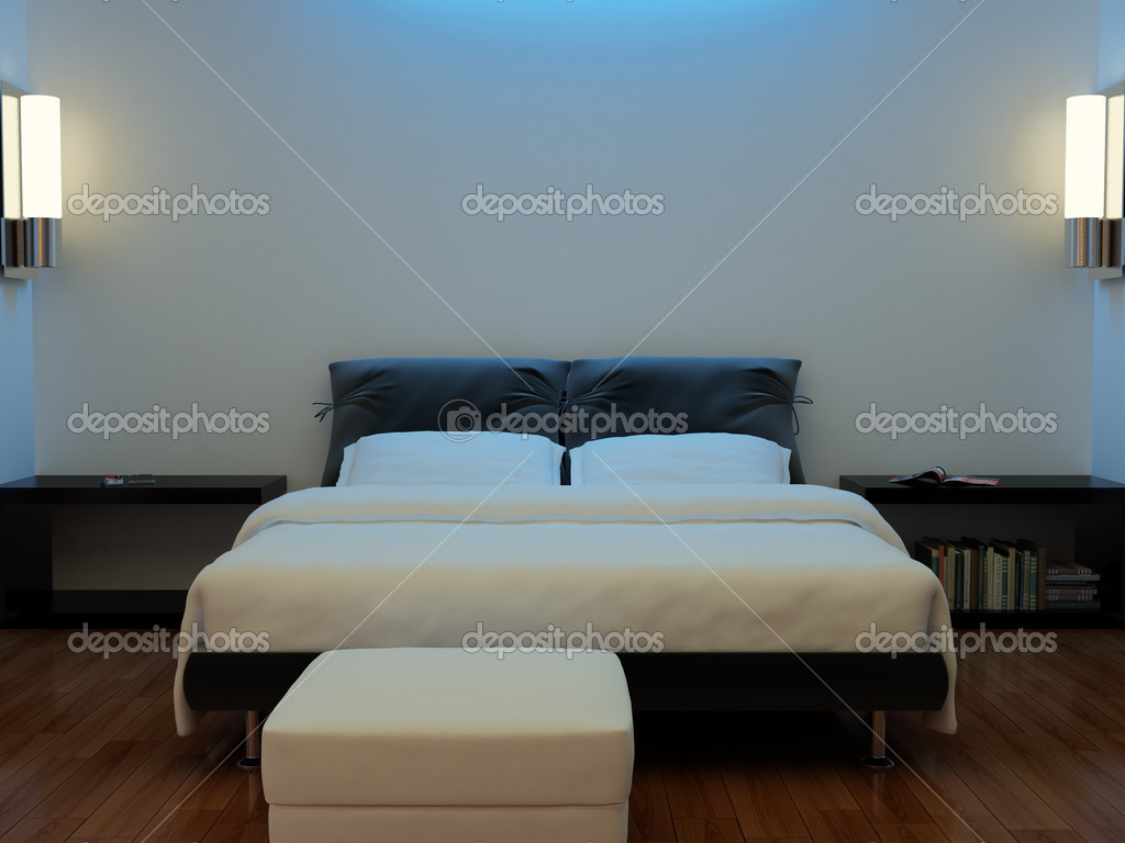 High resolution image interior. A bed in a bedroom. — Stock Photo #1694994