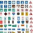 Stock Vector: Hundred traffic signs