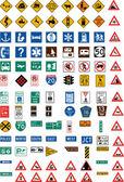 Centaines des panneaux de signalisation — Vecteur