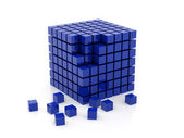 Cube of dark blue colour a set one — Stock Photo