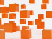 Falling cubes of orange colour — Foto Stock