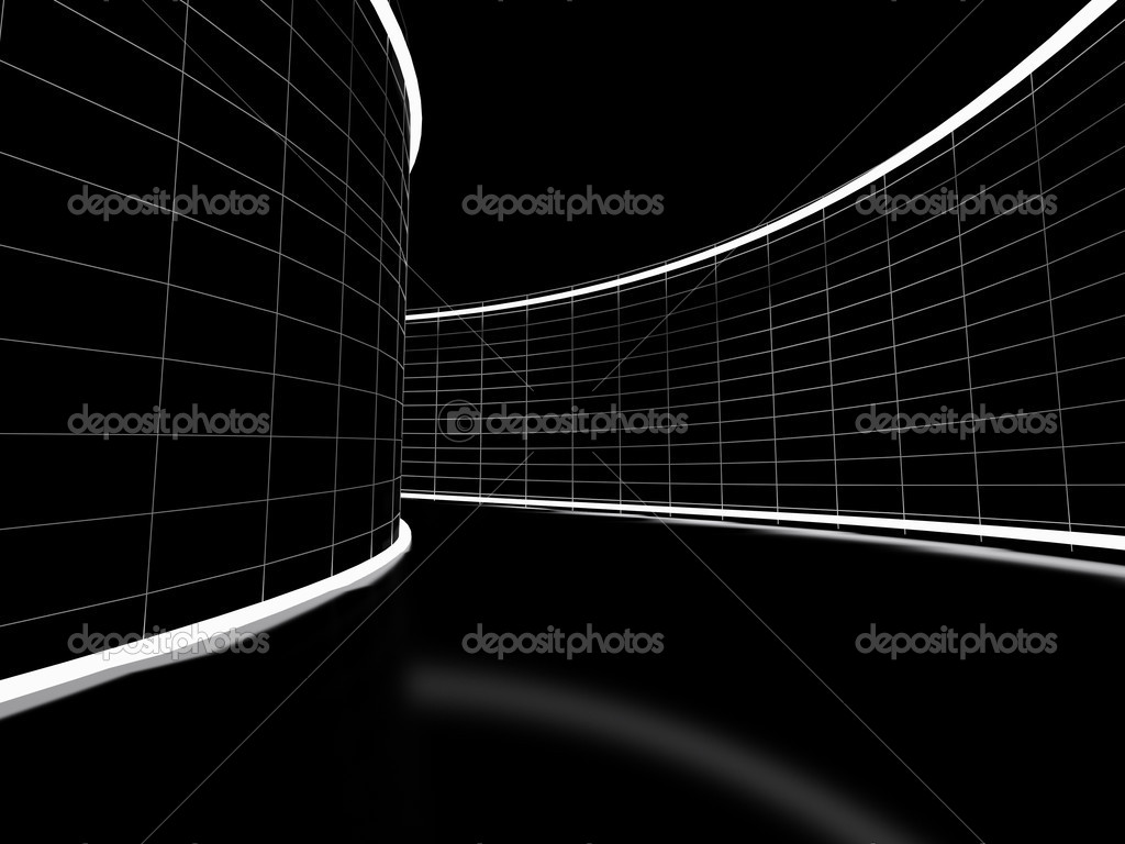 High resolution image automobile parking. 3d illustration black tunnel.  Stock Photo #1712070