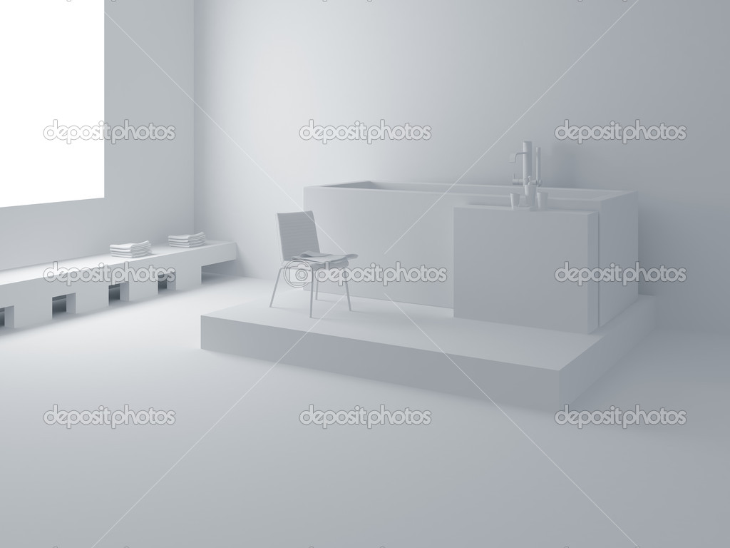 Designer bathroom. High resolution image interior. A bathroom in modern style. 3d illustration. — Stock Photo #1713875