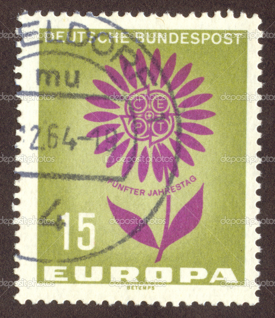 GERMANY -CIRCA 1964: German stamp with a flower, circa 1964.  Stock Photo #1714682