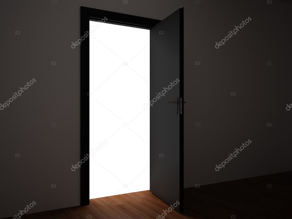 3d rendering the empty room with opened door.  Stock Photo #1715216