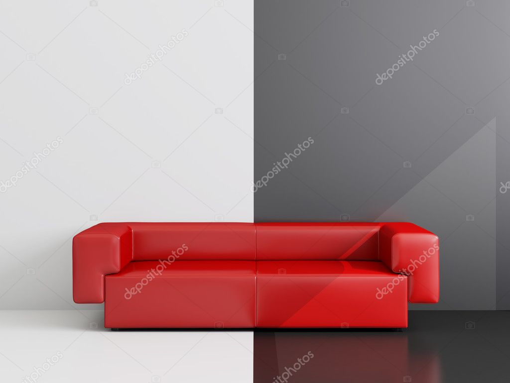 High resolution image interior.  Drawing room with a red sofa. — Stock Photo #1859315