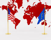 The American and European Union flag on a background of a card of the world. High resolution image. 3d illustration over white backgrounds. — Stock Photo