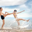 Happy friends at the beach — Stock Photo #1625839
