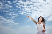 Woman and sky — Stock Photo