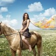 Stock Photo: Beauty and horse